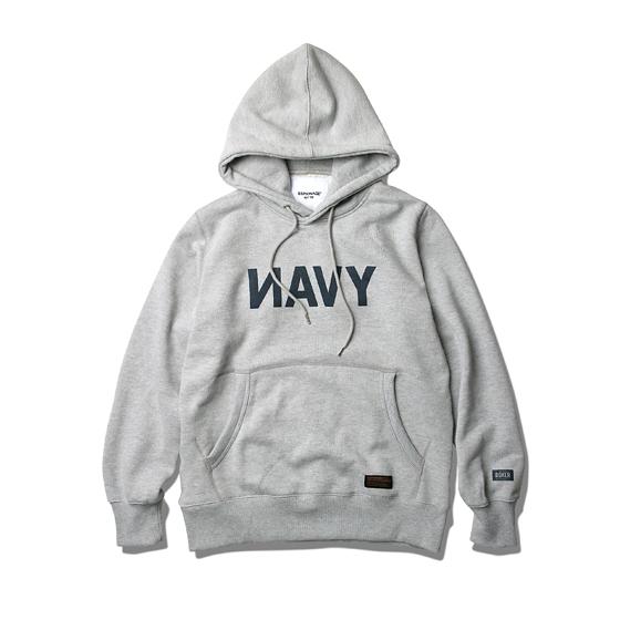 NAVY Heavyweight Hoodie Grey Melange